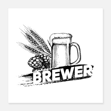Bar Pub Brewer Hop Malt Beer II Gift - Poster 16x16