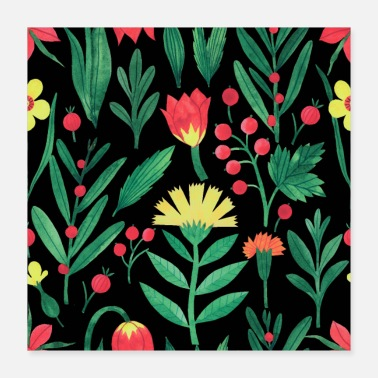 Botanical Lovely Yellow and Red Botanical Floral Background - Poster 16x16
