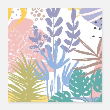 Botanical Tropical Pastel Abstract Botanical - Poster 16x16