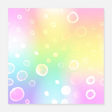 Harajuku Magical Pastel Rainbow Gradient with Bubbles - Poster 16x16