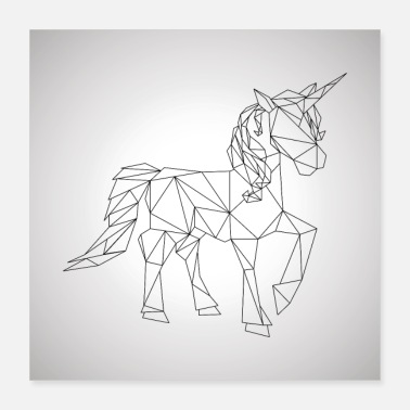 Gallop unicorn geometric gallop cool gift idea low poly - Poster