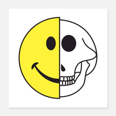 Graphic Smiling Graphic Icon Skull Gift - Poster 16x16