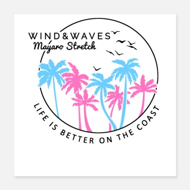 Wind Wind and Waves Beach Vacation - Poster 16x16