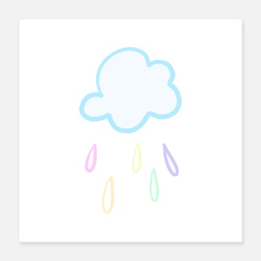 Water Droplets Sweet Pastel Raincloud - Poster