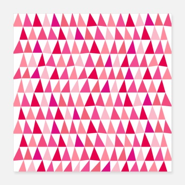 Pink Geometric Abstract Triangle Pattern - Poster