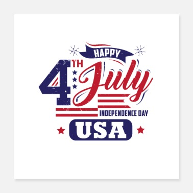 Established usa 4t july tee - Poster 16x16