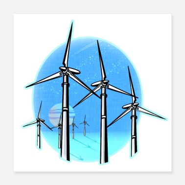 Wind Wind Turbines at Moonrise - Poster 16x16