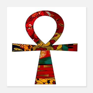 African Red Floral Print African Ankh - Poster