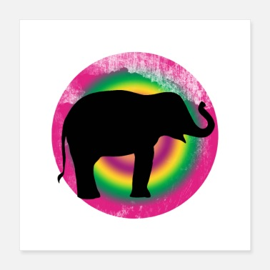 black silhouette of a elephant against a circle - Poster