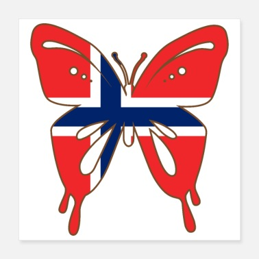 Scandinavian Butterfly Norway Flag of Norway Scandinavian Gift - Poster 16x16