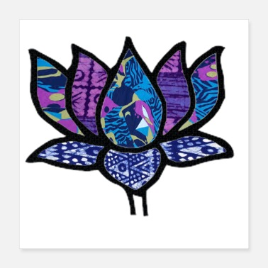 Hippy Art Lotus Flower Purple Tribal & Retro Fabric Collage - Poster