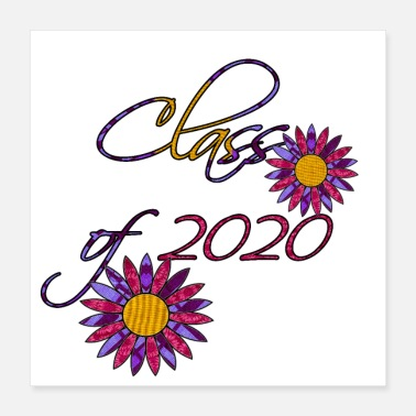 Milestone Class of 2020 Cursive Letters with flowers - Poster