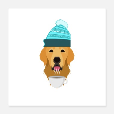 Golden Retriever Cozy Hygge Winter coffee Dog shirt - Poster