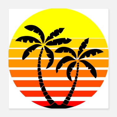 Palm Trees Sunset Palm Trees Palms Retro - Poster