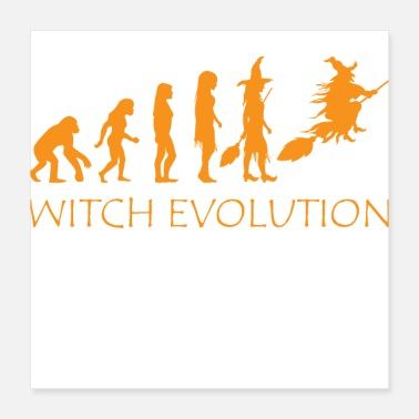 Evolution Witch Evolution Halloween Funny Costume - Poster 16x16