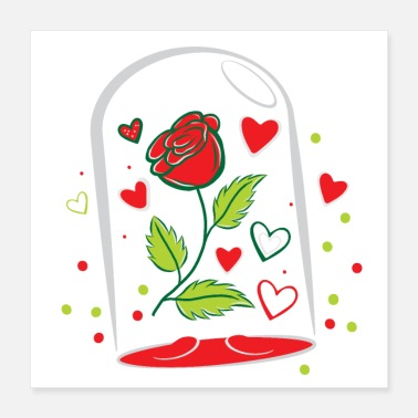 Jar withering RED rose in a glass jar - Poster