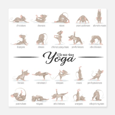 Performance Cute mice in Yoga poses - Poster