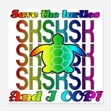 Sea SkSkSk Save The Sea Turtles Vintage Rainbow Design - Poster