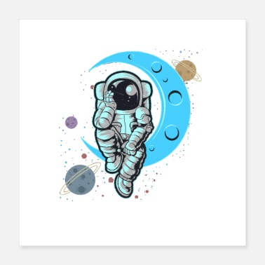 Sit Astronaut sitting on the moon - Poster