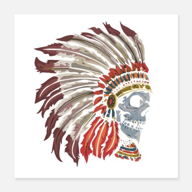 Head Coach Skull apache american indian head - Poster