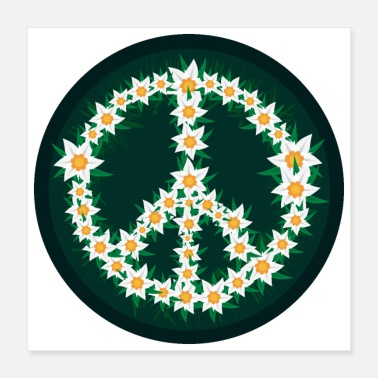 Alps Edelweiss Peace Symbol Alps Mountains Gift Idea - Poster