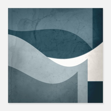 Interior Contemporary Textured Abstract Shapes in Aqua, - Poster