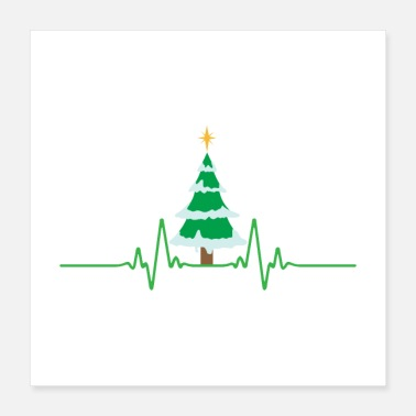 Funny Christmas Funny Christmas Heart Beat Christmas Tree Gifts - Poster 16x16