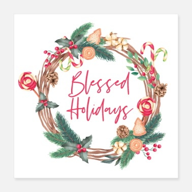 Script Blessed Holidays Christmas Wreath Script - Poster