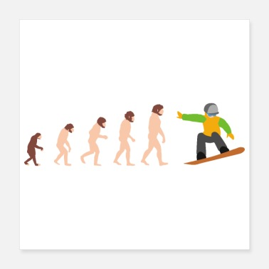 Snowboard Evolution Snowboarding Snowboarder Funny Gift Idea - Poster