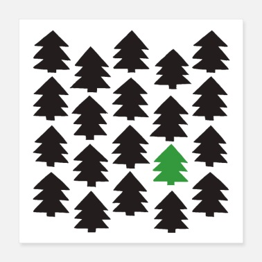 Pine Tree Pine forest white - Poster