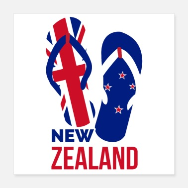 Flop New Zealand Vacation Flip Flops Funny Gift Idea - Poster 16x16
