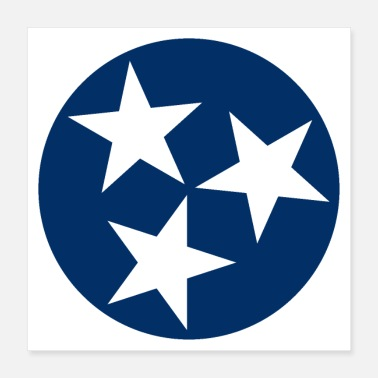States Flag American Tennessee State Flag Blue White Stars - Poster