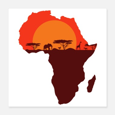 South Double Exposure Art Africa Safari Funny Gift Idea - Poster