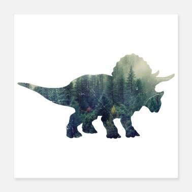 Triceratops Double Exposure Animals Dinosaur Triceratops Gift - Poster