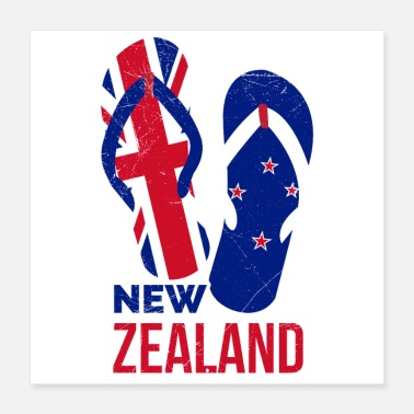 Flop New Zealand Vacation Flip Flops Funny Gift Idea - Poster