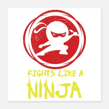 Japanese American Fights like a Ninja Fan Funny Gift Idea - Poster 16x16