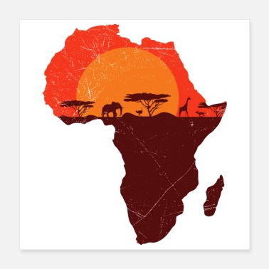 Africa Double Exposure Art Africa Safari Funny Gift Idea - Poster