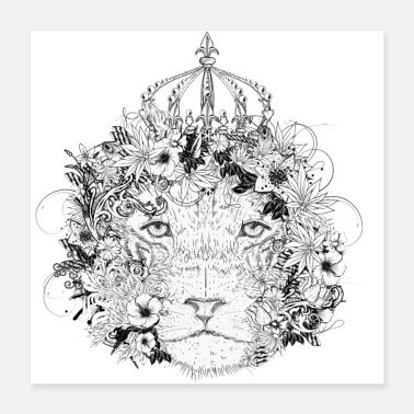 Jewelry floral decorated lion with flowers & crown - Poster