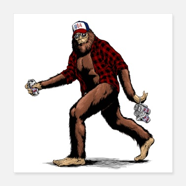 Beer Walking USA 'Merica American hillbilly Sasquatch - Poster