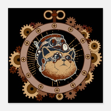 Steampunk Steampunk Cat Art Science Fiction - Poster