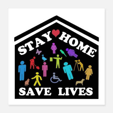 Virus Stay Home Save Lives Large Colorful Family - Poster