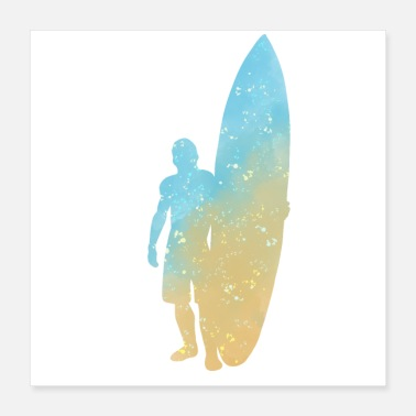 Surfboard Surfer Surfboard Watercolor Art Print Gifts - Poster