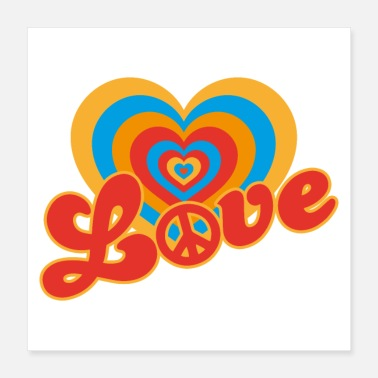 Love With Heart Retro love heart - Poster