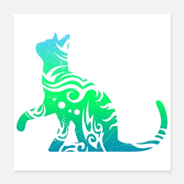 Cat Tribal Tattoo Cat Lover Gift Idea - Poster