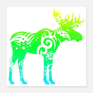 Wilderness Tribal Tattoo Moose Elk Gift Idea - Poster