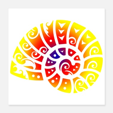 Fossil Maori Ammonite Polynesian Tribal Tattoo Gift Idea - Poster