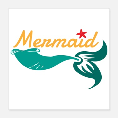 Water Mermaid Sea Ocean Girl Swimmer Gift Idea - Poster