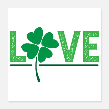 Valentine's Day Love Lucky Clover Shamrock Gift Idea - Poster
