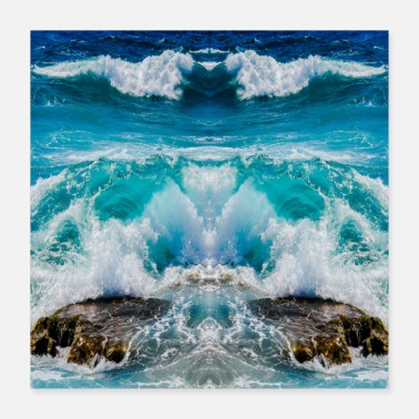 Motion Blue and white ocean waves - Poster