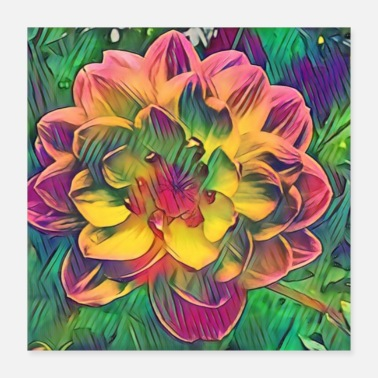 Romantic romantic colorful flowers - Poster